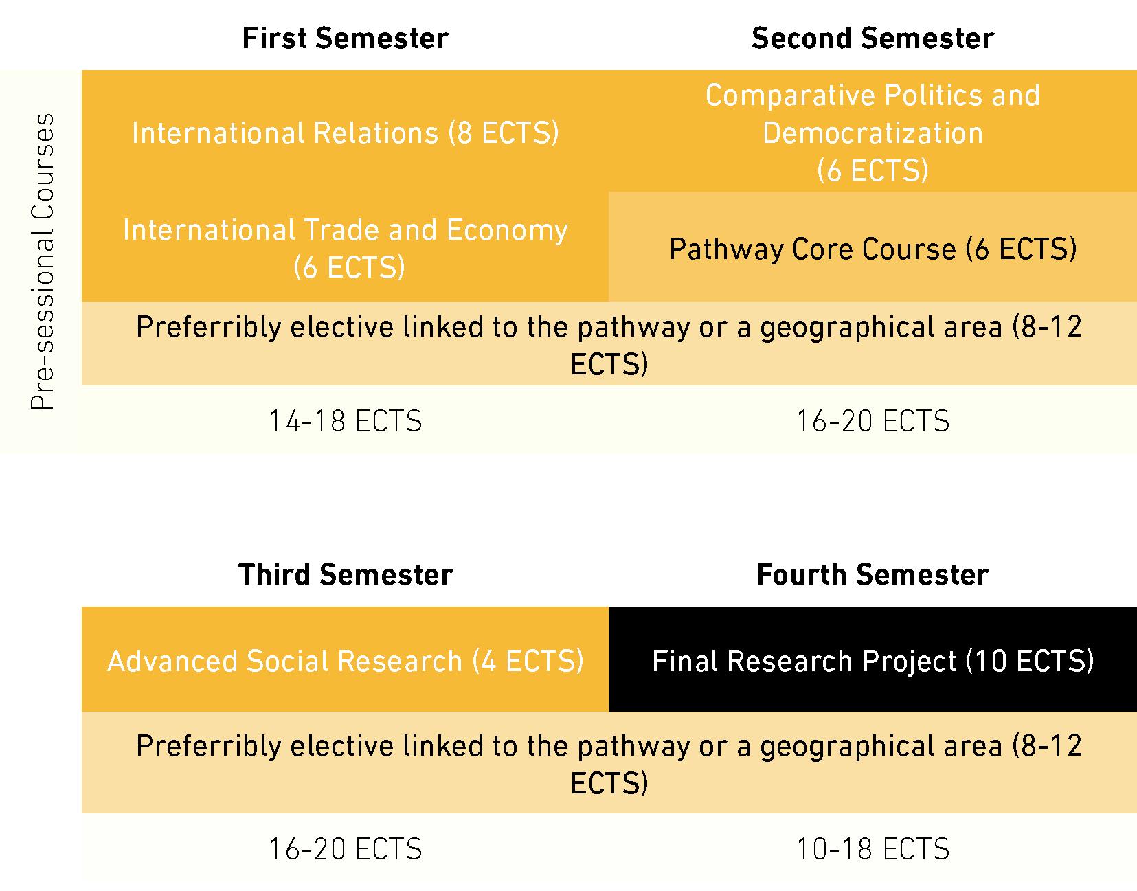 Plan de estudios (dos años, opción a tiempo parcial)