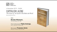 "Book presentation: ""Capitalism, Alone"" by Branko Milanovic. With Pablo Astorga (IBEI) & Francesc Amat (IPErG-UB)"