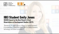 IBEI student Emily Jones: REEDES Award to Best Master's Final Dissertation on Development Studies